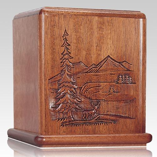 Deer Mahogany Cremation Urn