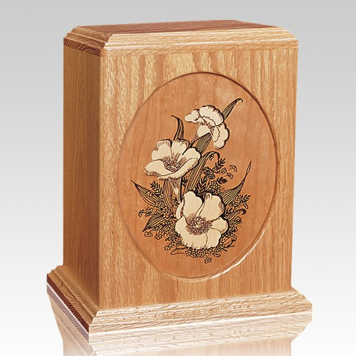 Floral Oak Wood Cremation Urn