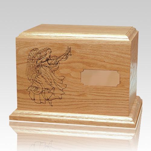 Guardian Angel Oak Wood Cremation Urn