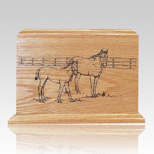 Horses Oak Wood Cremation Urn
