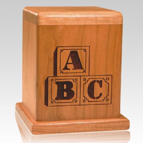 ABC Blocks Wood Children Infant Cremation Urn
