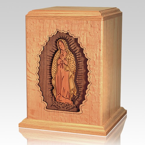 Lady of Guadalupe Oak Wood Urn