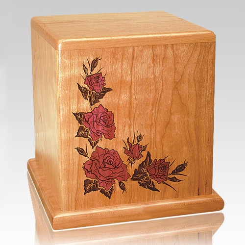 Red Roses Cherry Cremation Urn