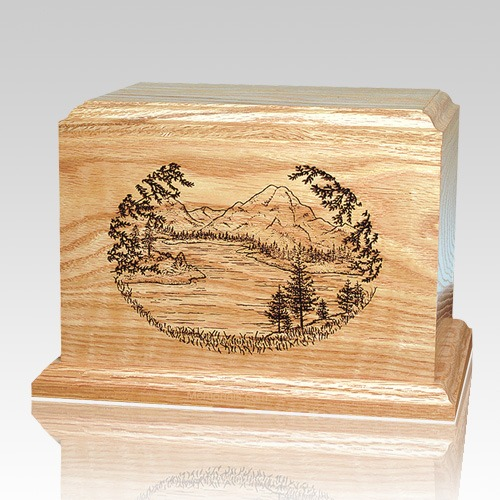Mountain Lake Oak Wood Cremation Urn