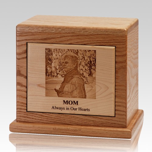 Horizontal Modern Photo Wood Cremation Urn