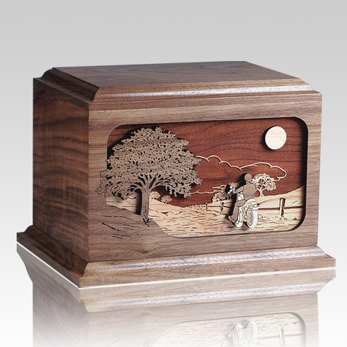 Motorcycle Rider Walnut Wood Cremation Urn