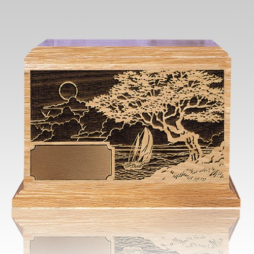 Seascape Oak Wood Cremation Urn