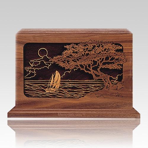 Seascape Walnut Wood Cremation Urn