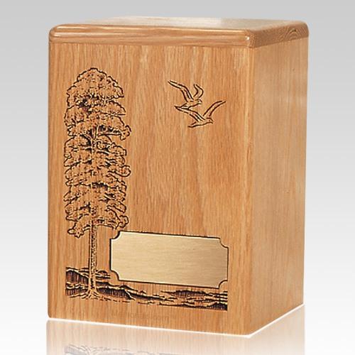 Tree & Doves Wood Children Infant Cremation Urn