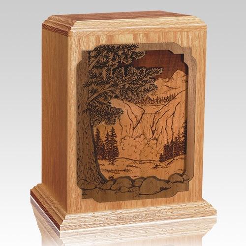 Waterfall Oak Wood Cremation Urn