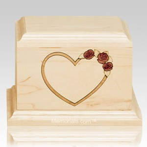 Red Rose Maple Wood Cremation Urn