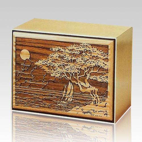 Seascape Bronze Wooden Cremation Urn