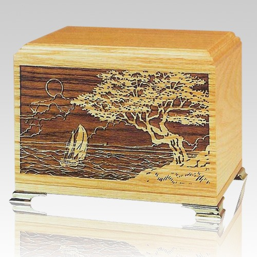 Seascape Oak Wooden Urn
