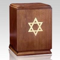 Classic Star of David Wood Cremation Urn