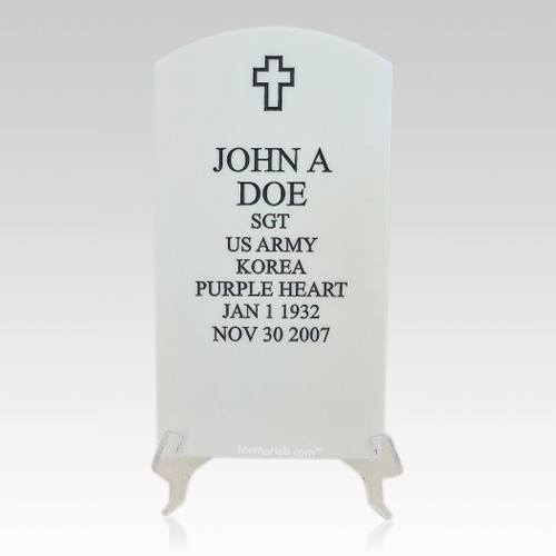 Veteran White Headstone Plaque