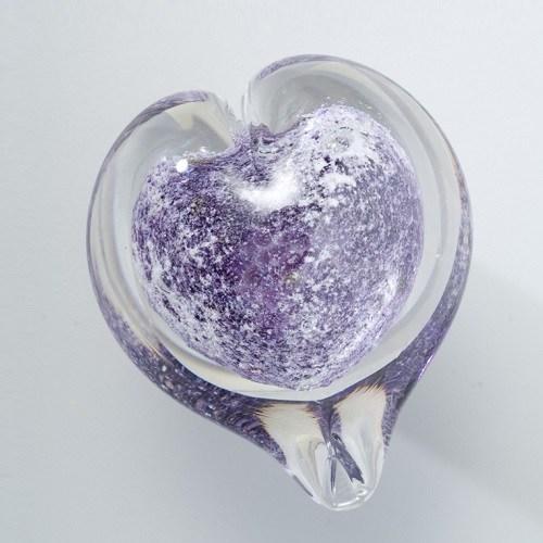 Violet Heart Glass Cremation Keepsakes