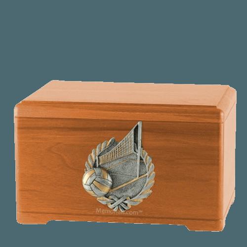Volleyball Fan Oak Cremation Urn