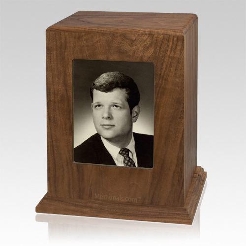 Walnut Picture Wood Cremation Urn