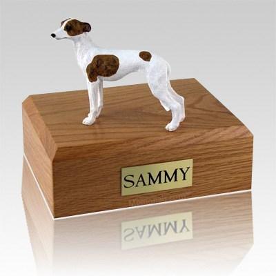 Whippet White & Brown Dog Urns