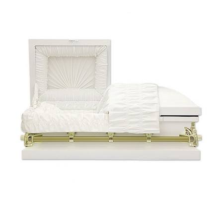 White Metal Pet Caskets