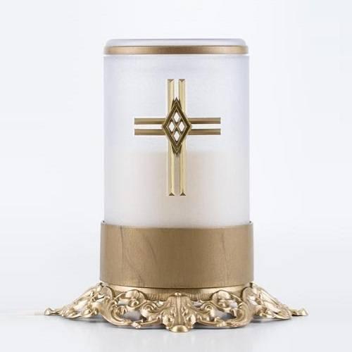 White Cross Ornate Memorial Candle