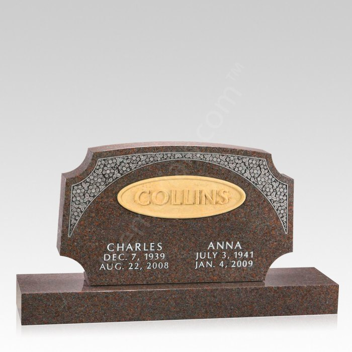 Wildflower Upright Cemetery Headstone