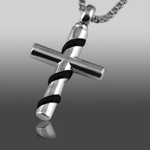 Wrapped Cross Black Cremation Jewelry