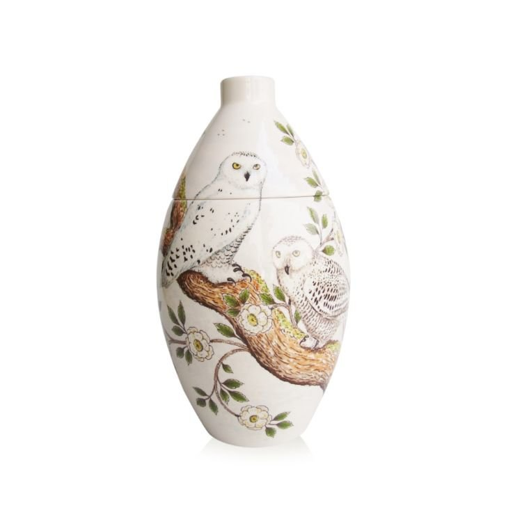 Snowy Owls Ceramic Cremation Urn