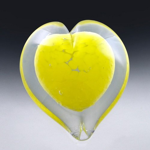 Yellow Heart Glass Cremation Keepsakes