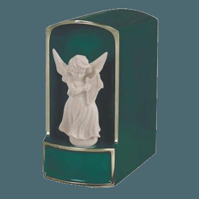 Angel with Harp Bronze Cremation Urn