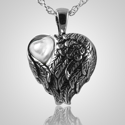 Mother Of Pearl Left Angel Wing Decor: Wings Mother Of Pearl Heart Pendant