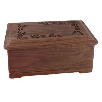 Autumn Leaves Wood Cremation Urn II