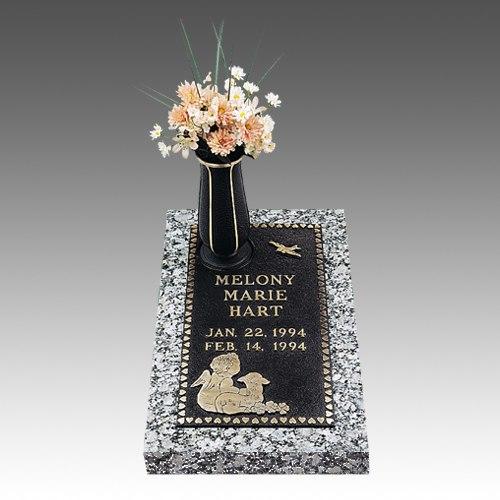 Angel & Lamb Children Bronze Grave Marker