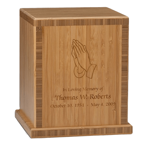 Praying Hands Bamboo Caramel Cremation Urn