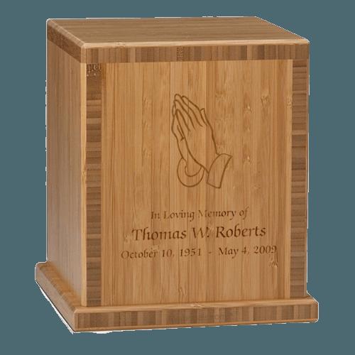 Praying Hands Bamboo Caramel Cremation Urn