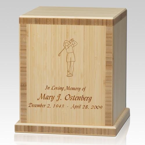 Lady Golfer Bamboo Natural Cremation Urn