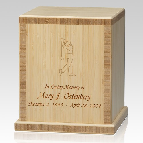 Man Golfer Bamboo Natural Cremation Urn
