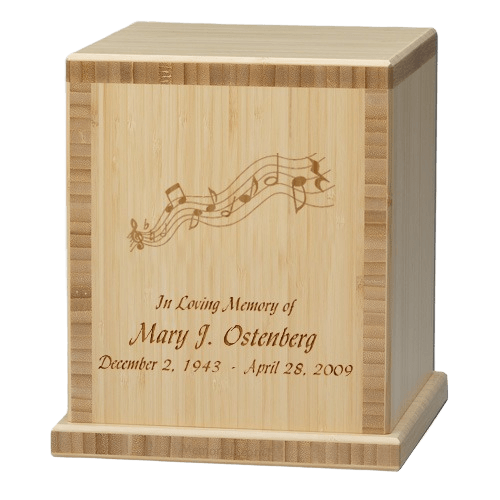 Music Notes Bamboo Natural Cremation Urn