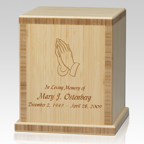 Praying Hands Bamboo Natural Cremation Urn