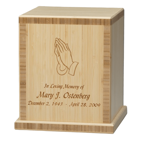 Praying Hands Bamboo Natural Cremation Urn