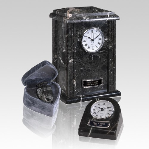 Marble Clock Black Cremation Urns