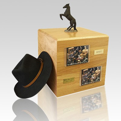Black Rearing Full Size Horse Urns