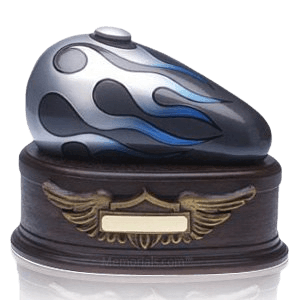 Blue Motorcycle Cremation Urn