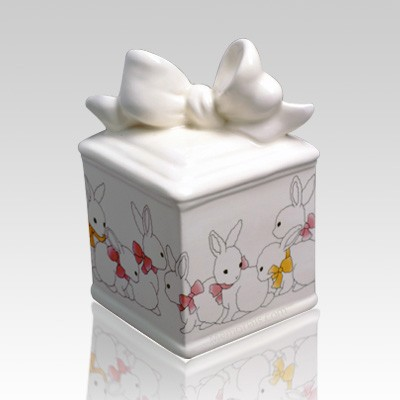 Bow Box with Bunnies Infant Cremation Urn