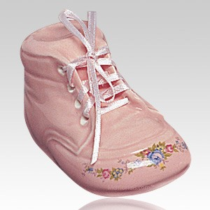 Pink Baby Bootie Infant Cremation Urn