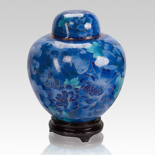Blue Copper Cloisonne Cremation Urn
