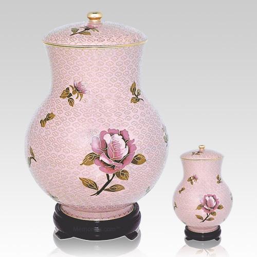 Blissful Rose Cloisonne Cremation Urns
