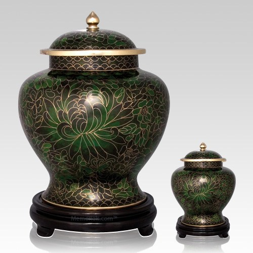 Emerald Green Cloisonne Cremation Urns