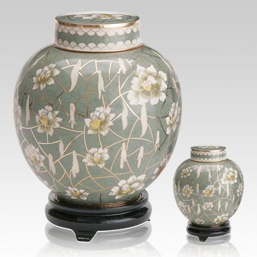 Pear Blossom Cloisonne Cremation Urns