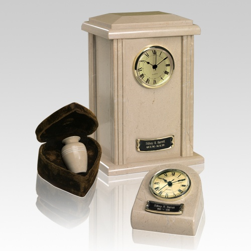 Marble Clock Cream Cremation Urns